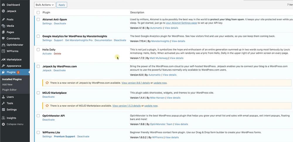 Active vs inactive WordPress plugins