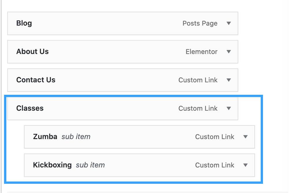 Create a sub menu in wordpress
