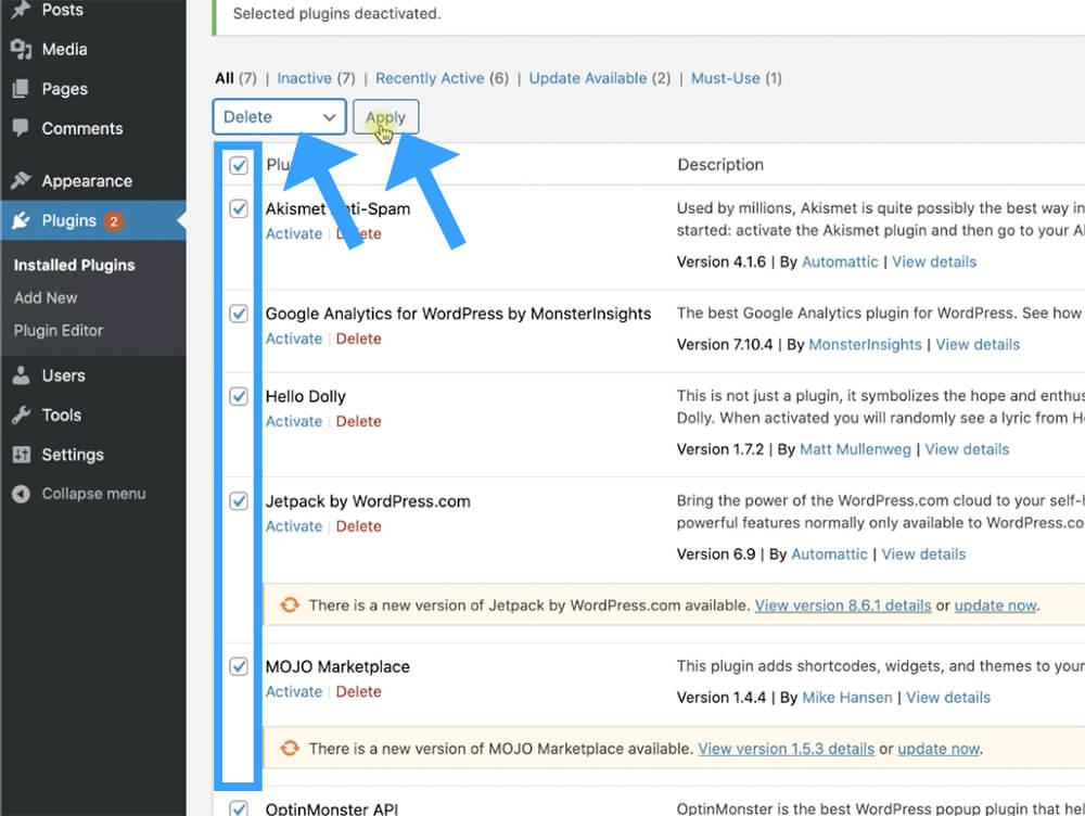 Delete all WordPress plugins
