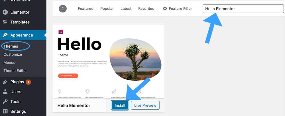 Install the Hello Elementor WordPress Theme
