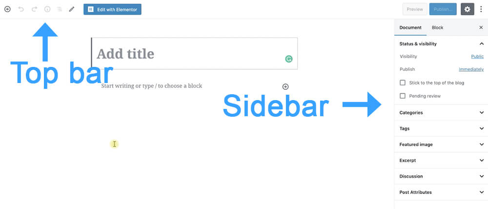 Post top bar and sidebar