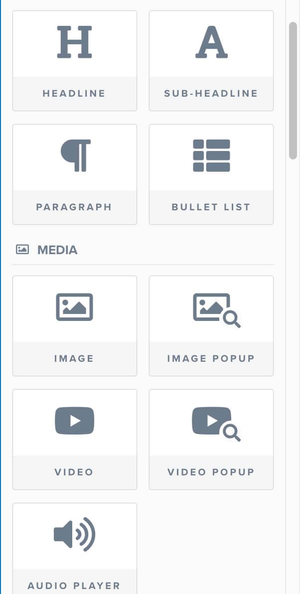 Clickfunnels Widgets list