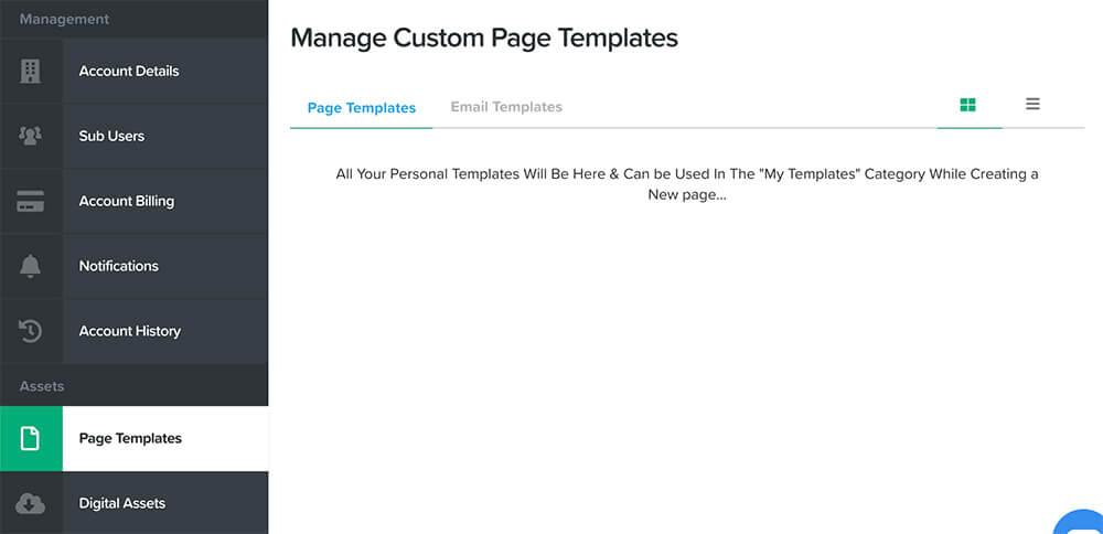 Custom templates tab