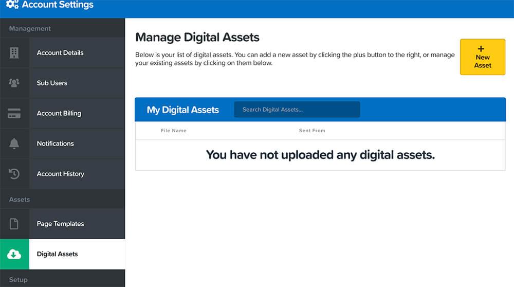 Digital assets tab