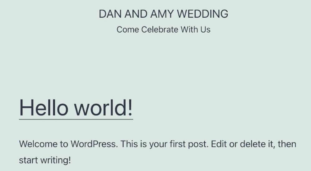 Default WordPress homepage