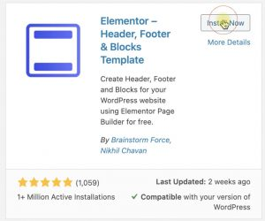Elementor header footer and blocks plugin