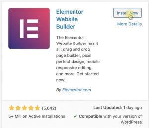 Install Elementor plugin