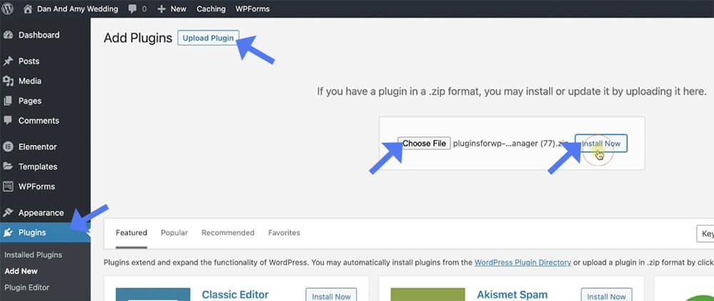 Manually add plugins to WP