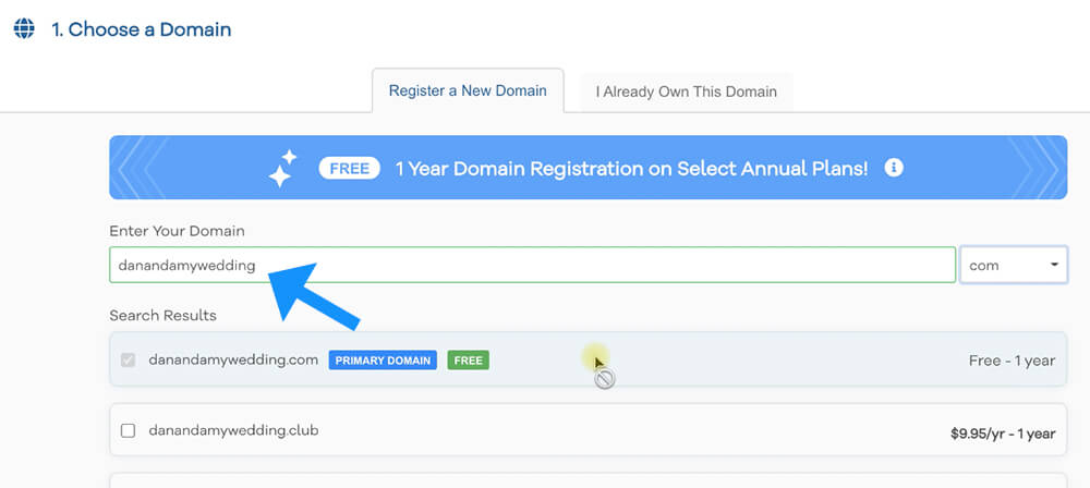 Register a new domain name
