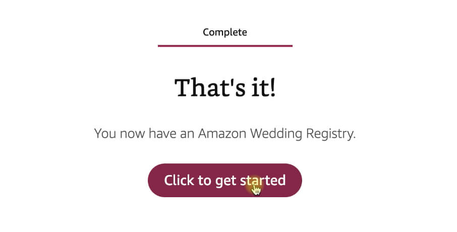 Wedding registry completed